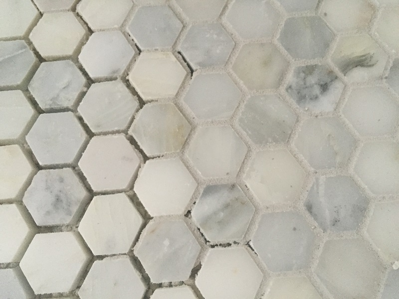 hex tile, marble hex tile, marble hex tile disaster, marble hex tile grout, marble hex tile ruined, marble hex tile damaged, marble hex tile fix